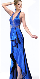 Halter high-low hem prom dress