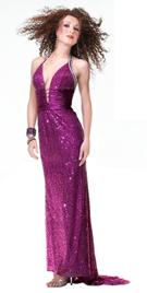 Sequined halter purple prom dress