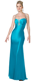 Center Bust Beaded Prom Gown