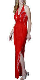 Red Hot Halter Stone Studded Prom Gown