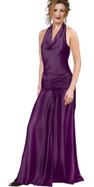 Prom dress-Halter Cowl Neck Prom dress