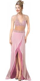 Hot Beaded halter Evening Dress
