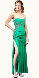 Beaded Empire Waistband Prom Gown