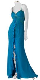chiffon center ruffled beaded evening dress