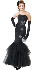 Strapless Satin Beaded black prom Dress