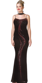 Spaghetti Strap Full Length Beaded Sequenced Prom Dress