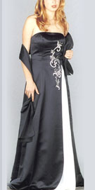 Strapless Satin Embroidered Prom gown