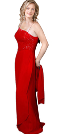 Beaded Red Charmeus Prom dress