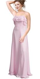 Elegant Chiffon Frilled Spaghetti strip prom Gown