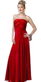 Strapless Chiffon Satin prom Gown