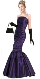 Strapless Side Shirred Gathered Prom Gown