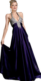 Deep V-Neck Evening Gown