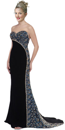 Velvet strapless exuberance with sweet heart neckline designer dress