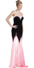 Velvet and satin strapless sweet heart neckline premium dress