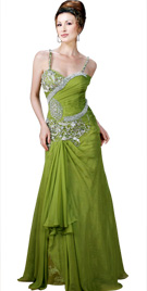 Jeweled Spaghetti Strapped Dress | Red Carpet Dresses