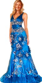Flower Embroidered V Neckline Red Carpet Gown