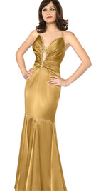 Beaded Cutout Midriff Evening Gown