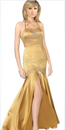 Soft Georgette Beaded Bodice Evening Gown