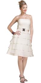 Ruffled Satin Belt A Line Strapless Dress