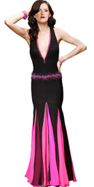 Deep Neckline Halter Gown