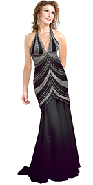 Embellished Chiffon Halter Evening Gown