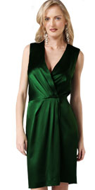 Sleeveless V Neck Green Dress